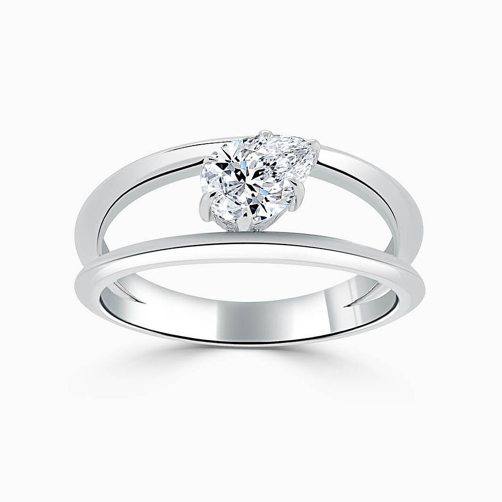 18ct White Gold Pear Shape 6 Claw With Double Band Engagement Ring