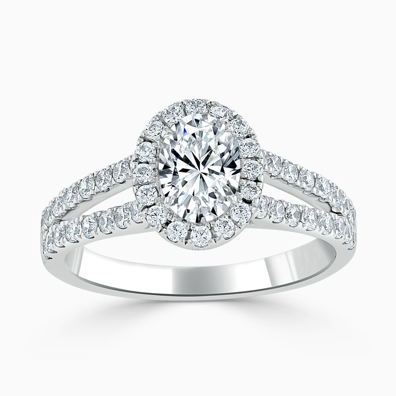 Platinum Oval Shape Split Shoulder Halo Engagement Ring