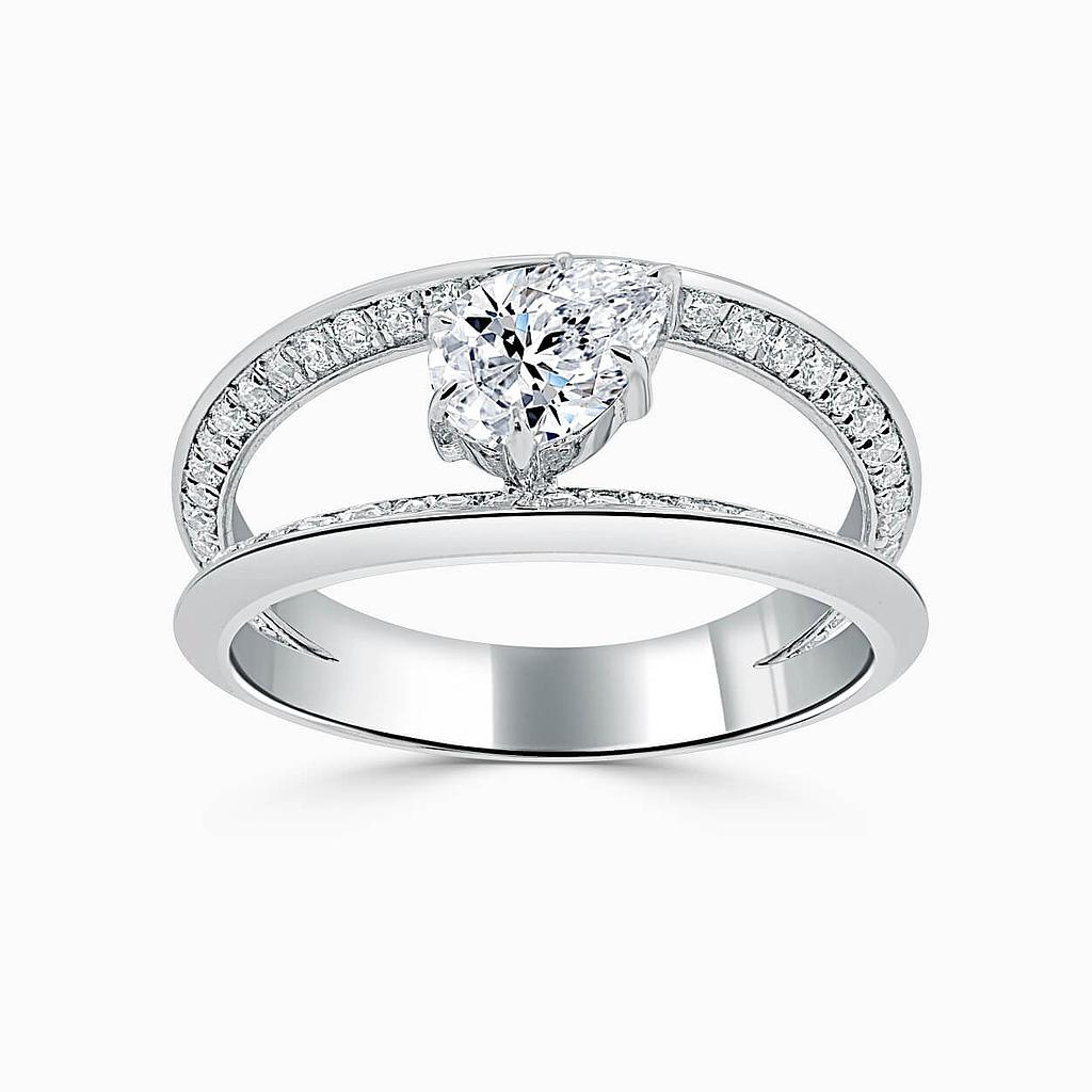 18ct White Gold Pear Shape 6 Claw With Double Pave Band Engagement Ring