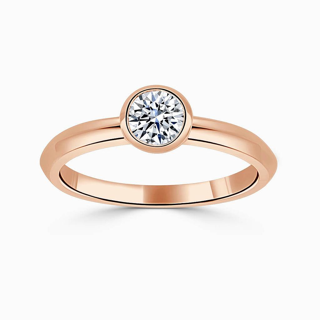 18ct Rose Gold Round Brilliant Rubover Engagement Ring