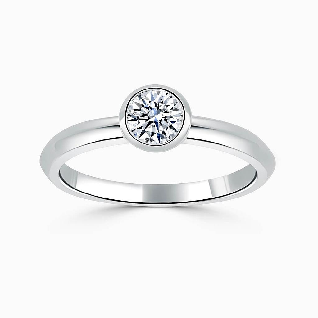 18ct White Gold Round Brilliant Rubover Engagement Ring