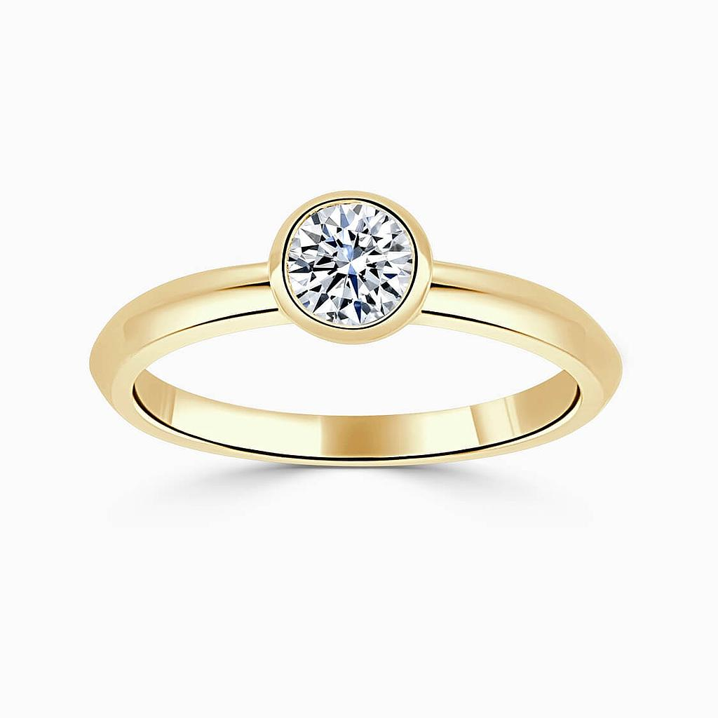 18ct Yellow Gold Round Brilliant Rubover Engagement Ring