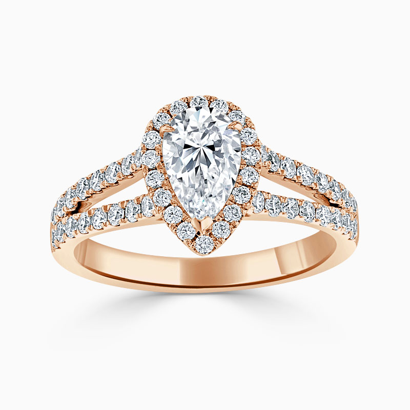 18ct Rose Gold Pear Shape Split Shoulder Halo Engagement Ring