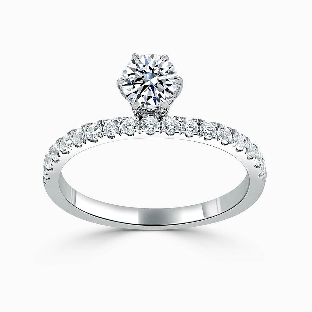 18ct White Gold Round Brilliant 6 Claw Overhang with Cutdown Engagement Ring