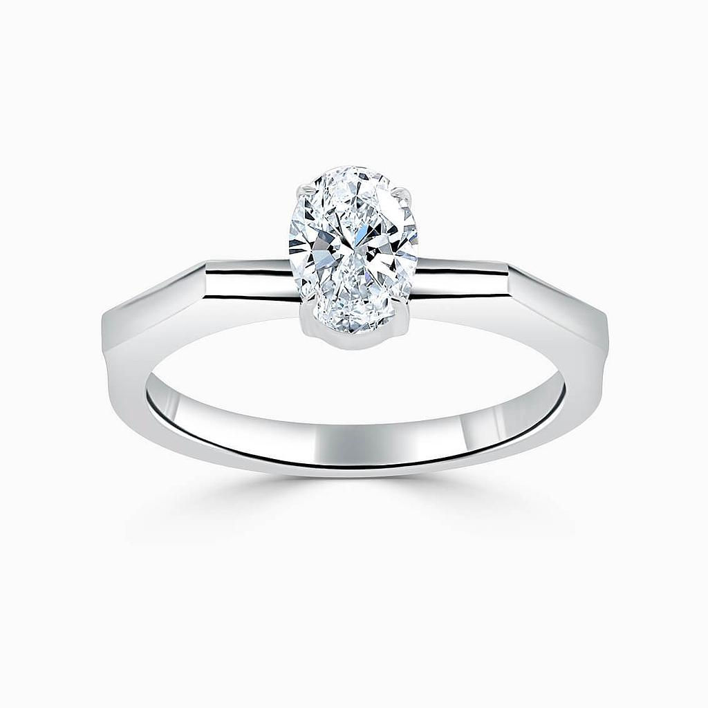 18ct White Gold Oval Shape Geometric Engagement Ring