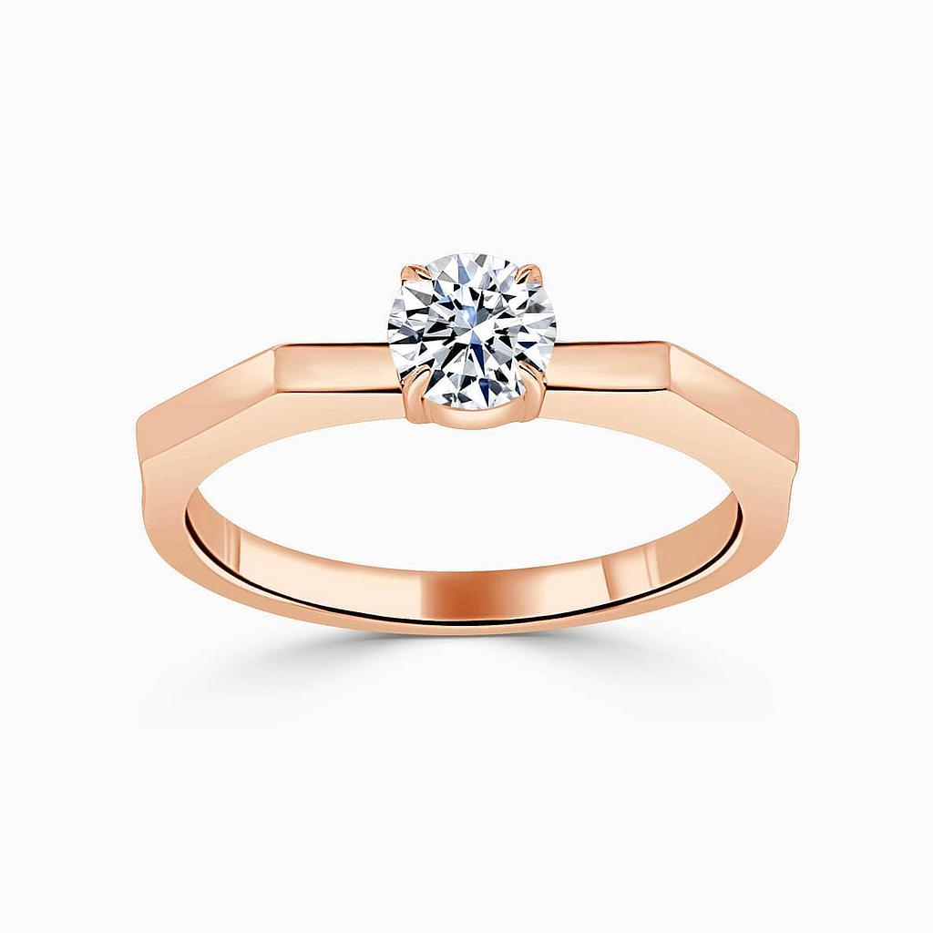18ct Rose Gold Round Brilliant Geometric Engagement Ring