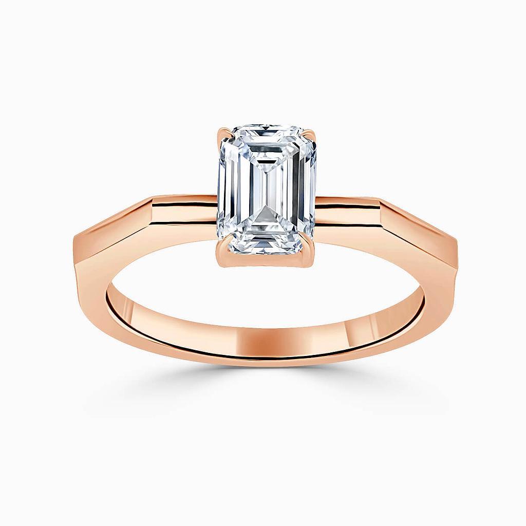 18ct Rose Gold Emerald Cut Geometric Engagement Ring