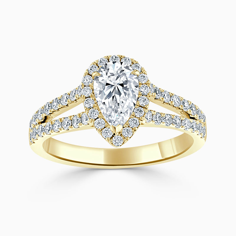 18ct Yellow Gold Pear Shape Split Shoulder Halo Engagement Ring