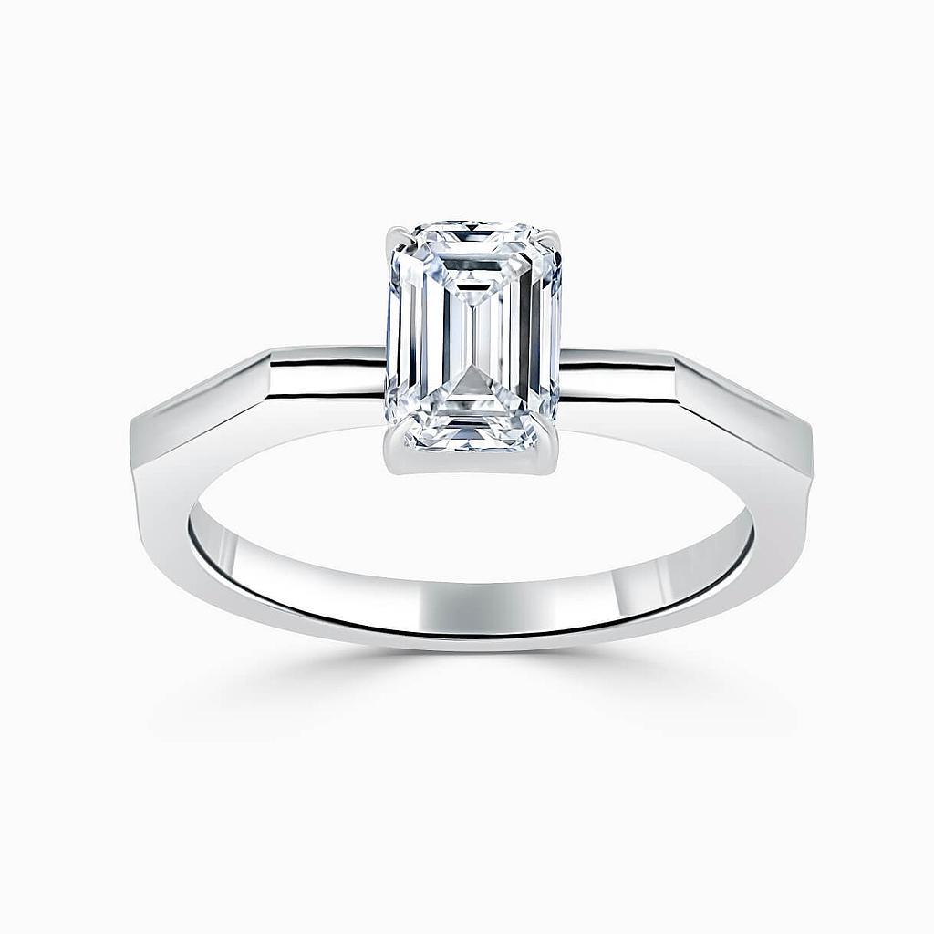 18ct White Gold Emerald Cut Geometric Engagement Ring
