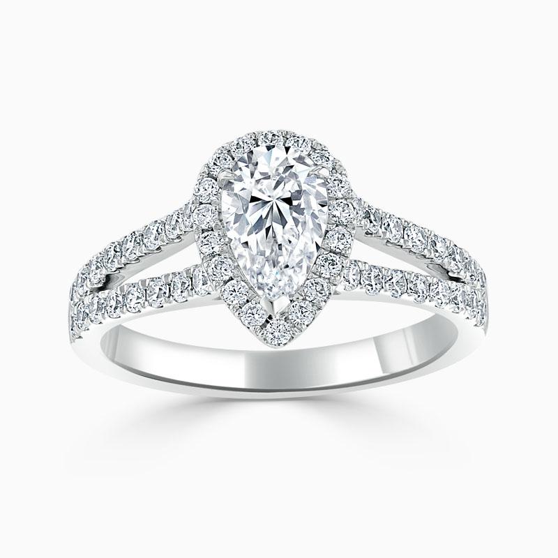 Platinum Pear Shape Split Shoulder Halo Engagement Ring