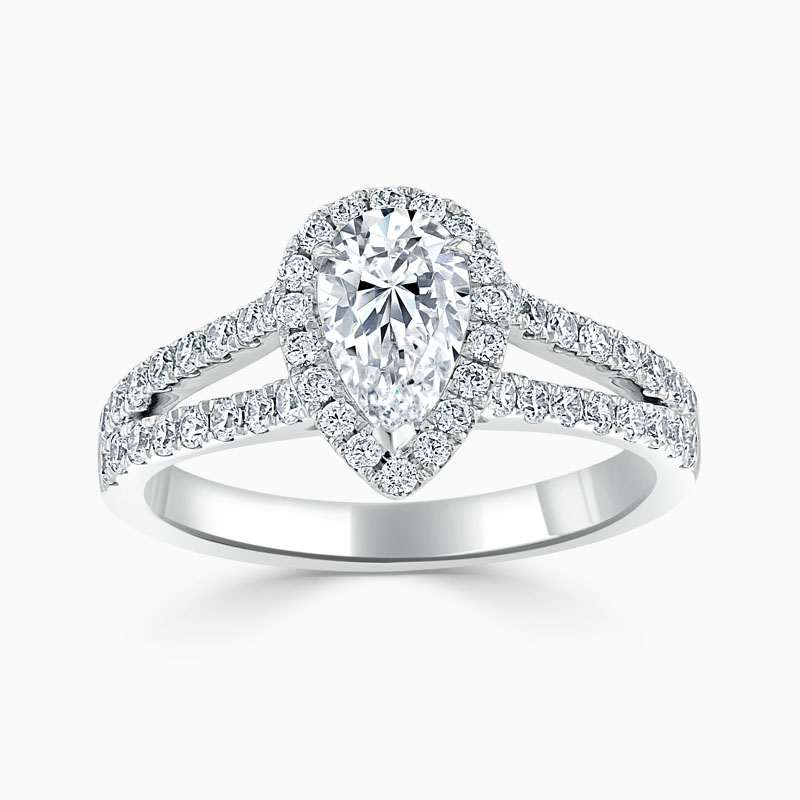 Platinum Pear Shape Split Shoulder Halo Engagement Ring