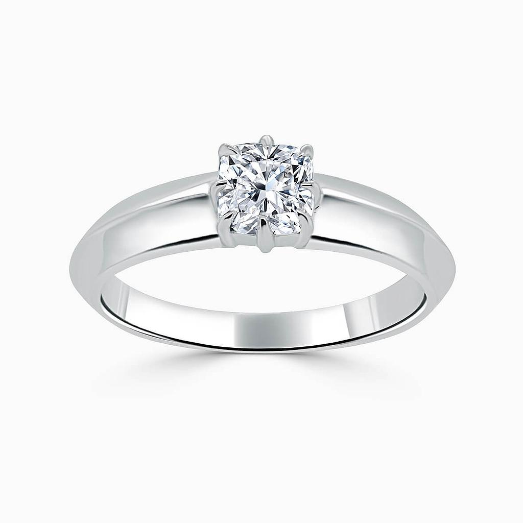 Platinum Cushion Cut 8 Claw With Taper Engagement Ring