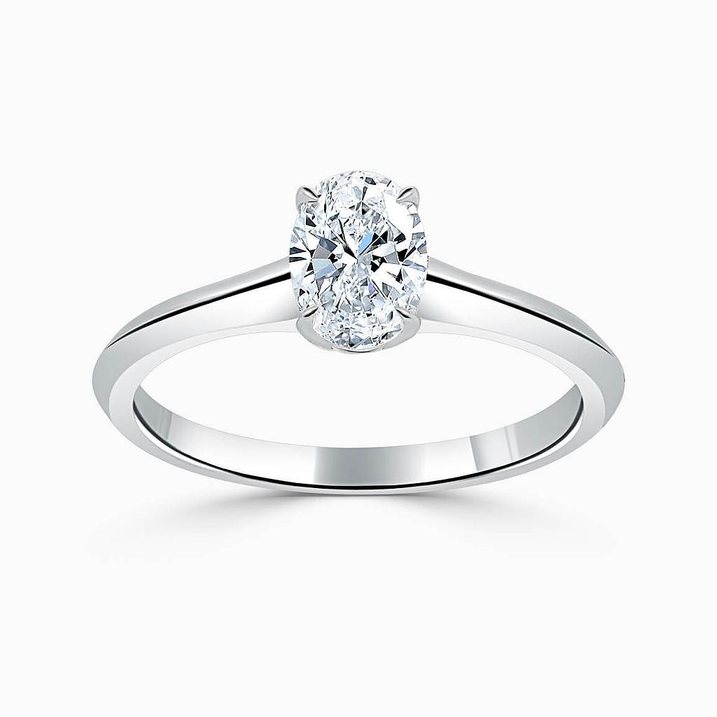 Platinum Oval Shape Basket With Taper Engagement Ring