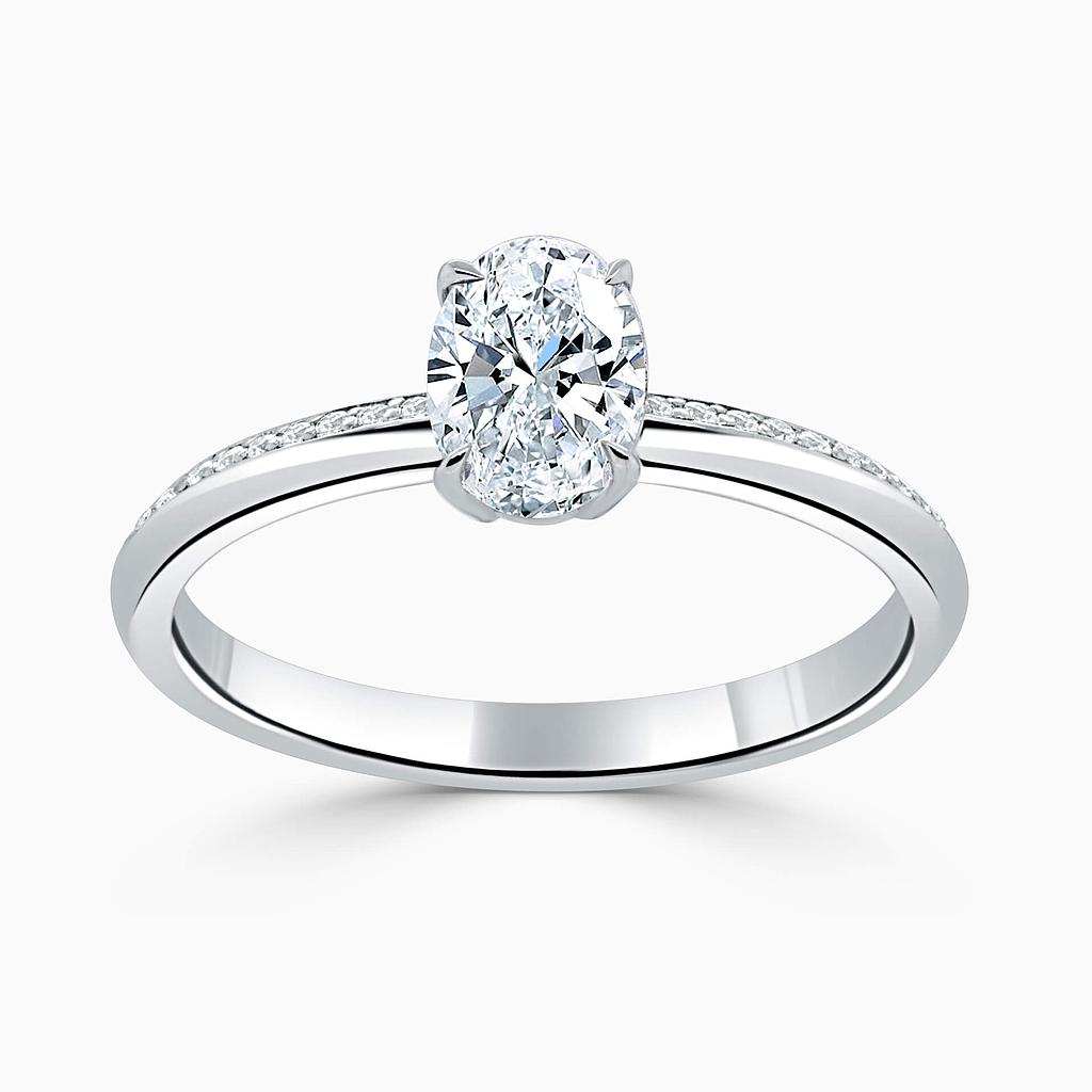 18ct White Gold Oval Shape Basket With Tapered Pave Engagement Ring