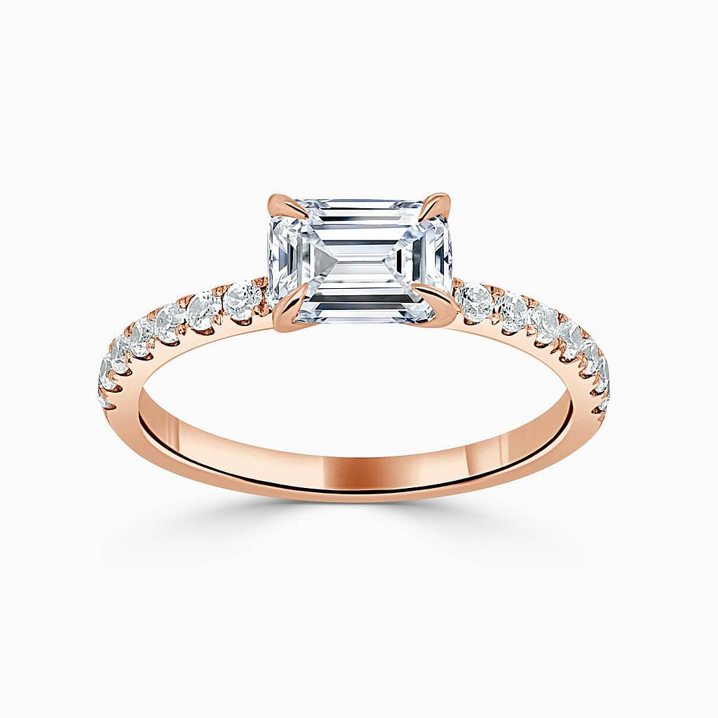 18ct Rose Gold Emerald Cut Side Cutdown Engagement Ring