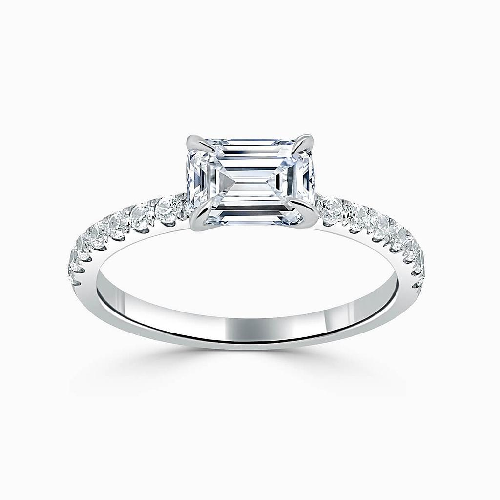 18ct White Gold Emerald Cut Side Cutdown Engagement Ring