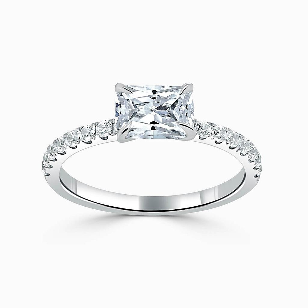 Platinum Emerald Cut Side Cutdown Engagement Ring