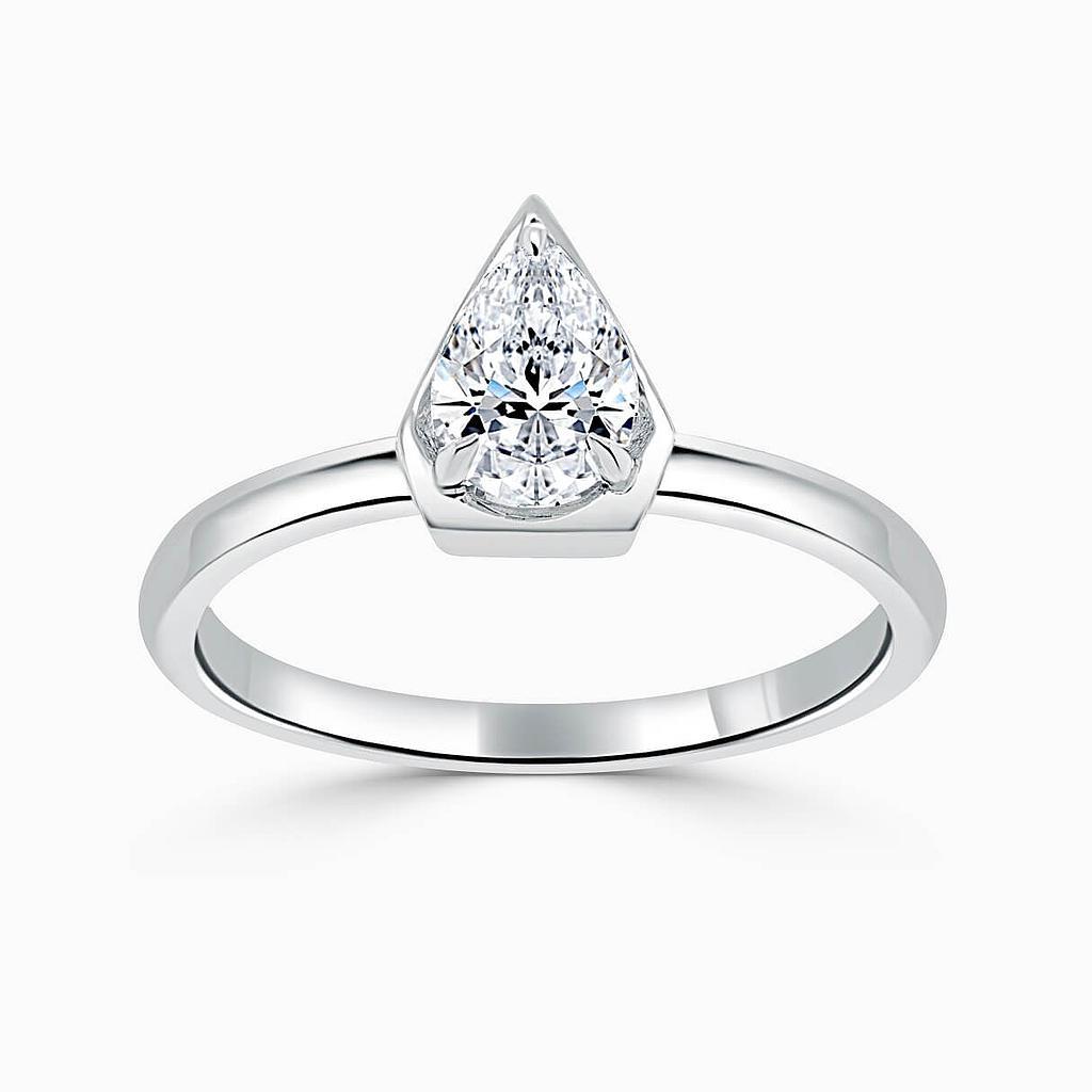 Platinum Pear Shape Knife Edge Geo Engagement Ring