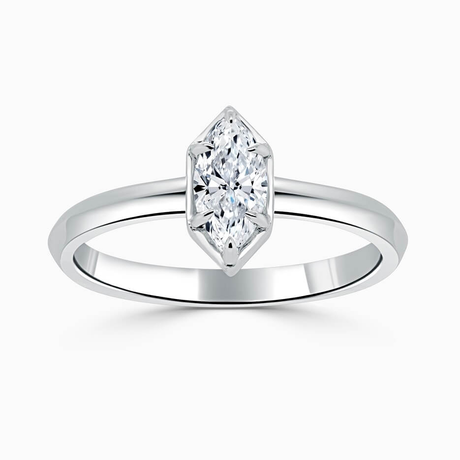 18ct White Gold Marquise Cut Knife Edge Geo Engagement Ring
