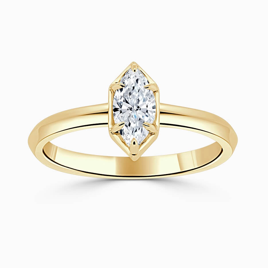18ct Yellow Gold Marquise Cut Knife Edge Geo Engagement Ring