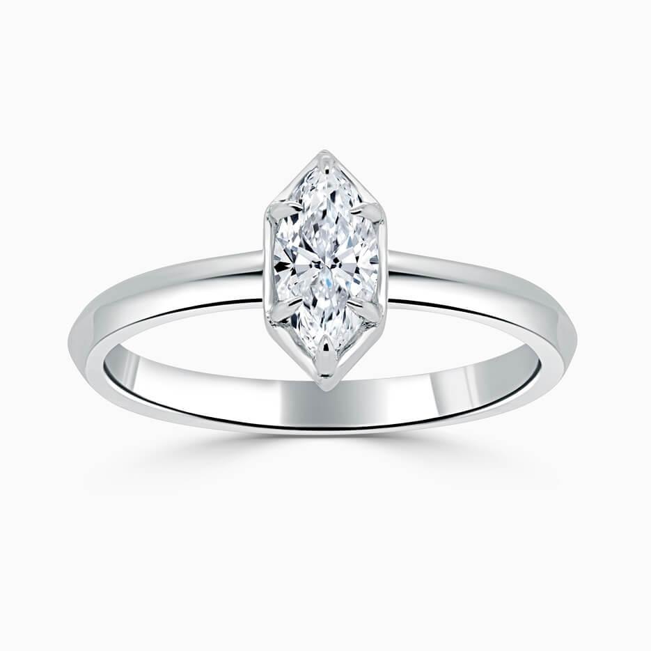 Platinum Marquise Cut Knife Edge Geo Engagement Ring
