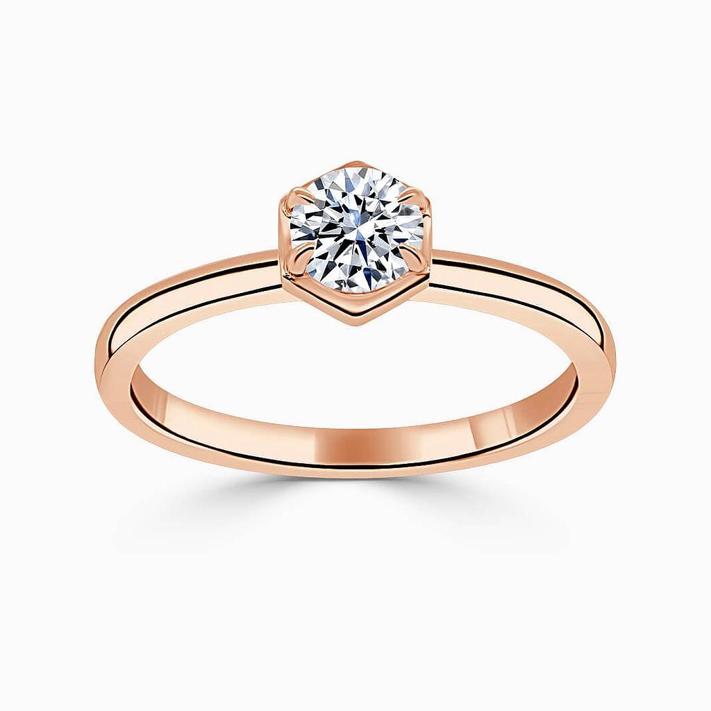 18ct Rose Gold Round Brilliant Geo Hexagon Engagement Ring