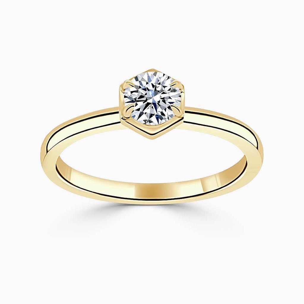 18ct Yellow Gold Round Brilliant Geo Hexagon Engagement Ring