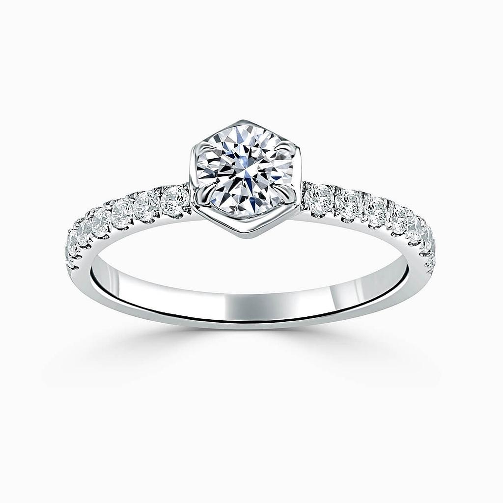 Platinum Round Brilliant Geo Hexagon With Cutdown Engagement Ring