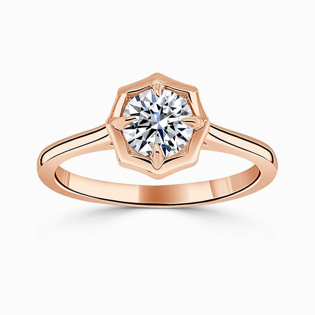 18ct Rose Gold Round Brilliant Geo Octagon Engagement Ring