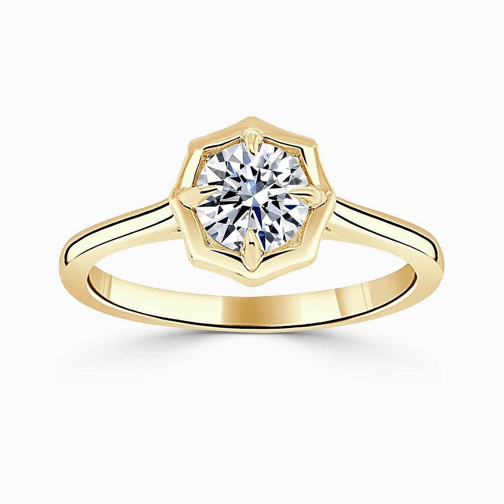 18ct Yellow Gold Round Brilliant Geo Octagon Engagement Ring