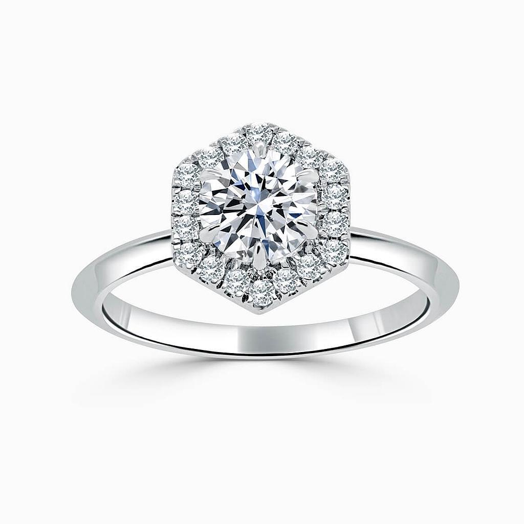 Platinum Round Brilliant Geo Hexagon Halo Engagement Ring