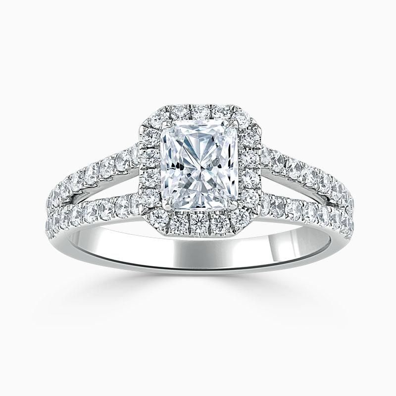 18ct White Gold Radiant Cut Split Shoulder Halo Engagement Ring