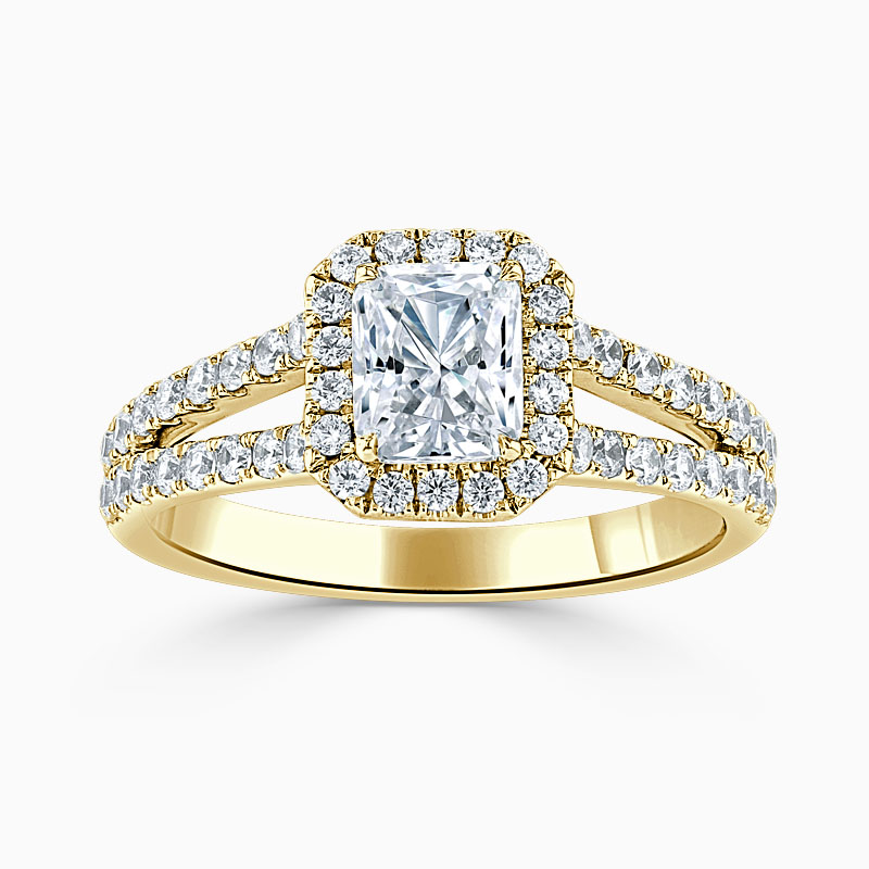 18ct Yellow Gold Radiant Cut Split Shoulder Halo Engagement Ring