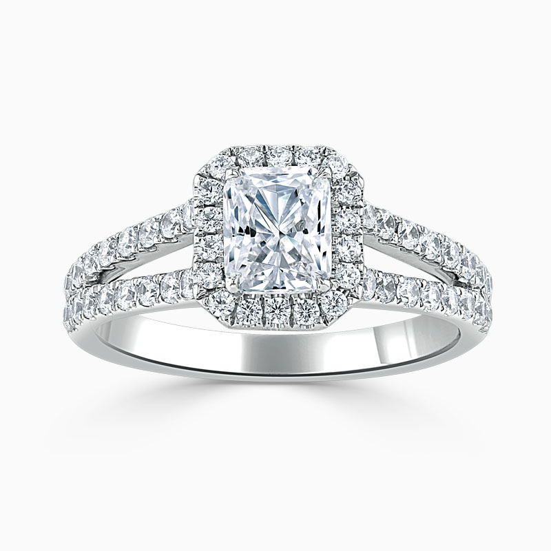 Platinum Radiant Cut Split Shoulder Halo Engagement Ring