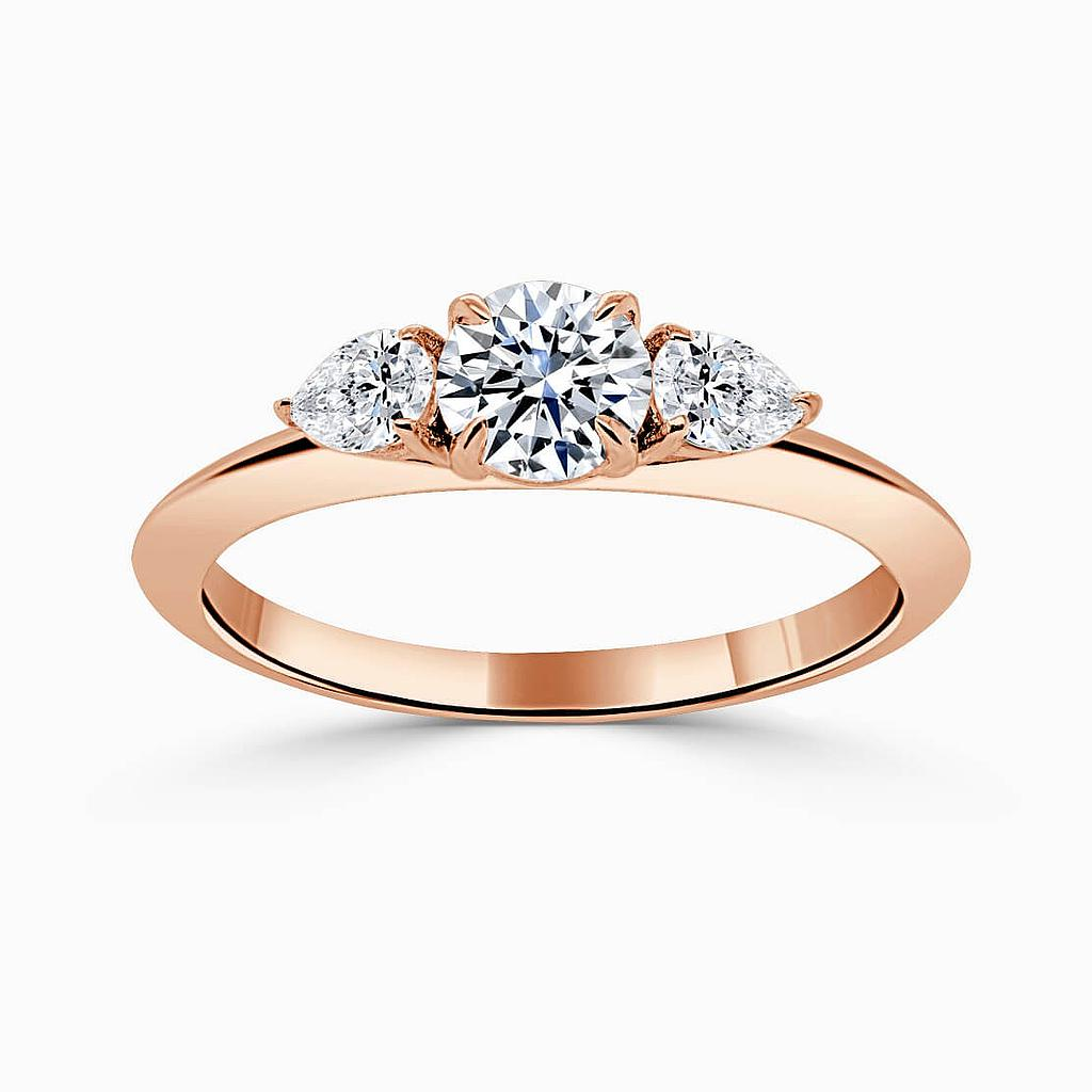 18ct Rose Gold Round Brilliant 3 Stone Knife Edge with Pears Engagement Ring