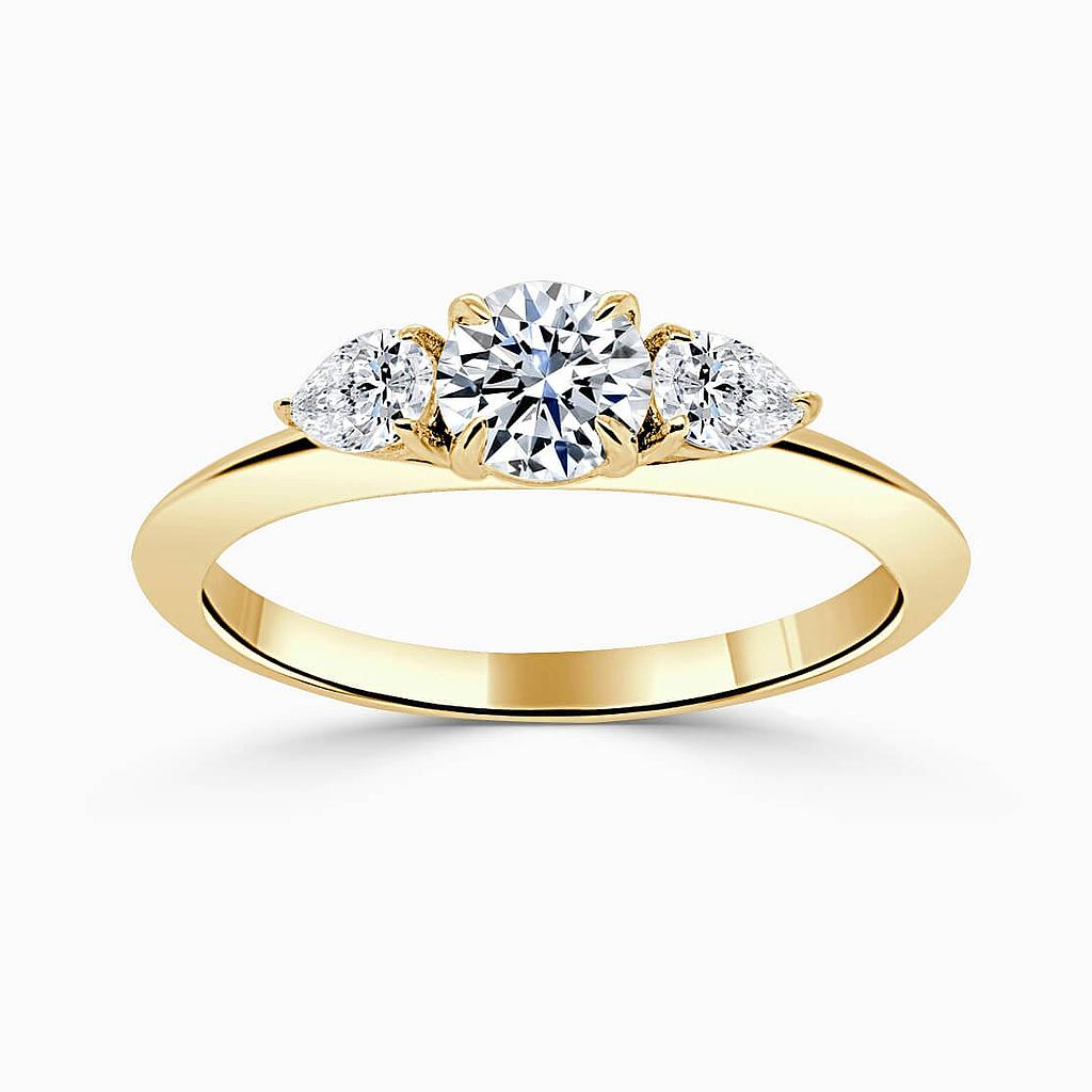 18ct Yellow Gold Round Brilliant 3 Stone Knife Edge with Pears Engagement Ring