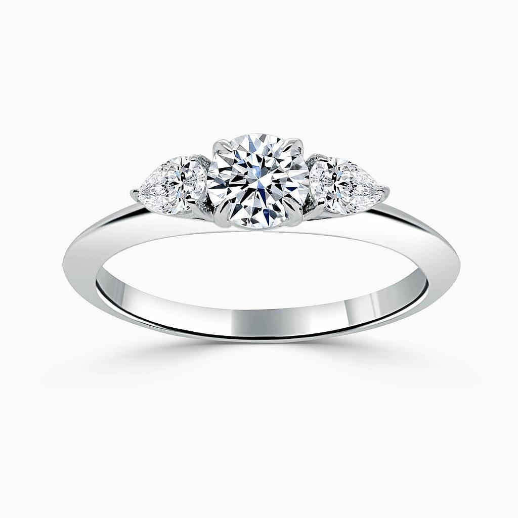 Platinum Round Brilliant 3 Stone Knife Edge with Pears Engagement Ring