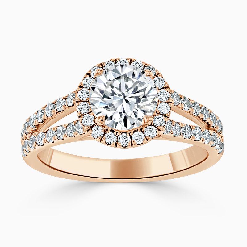 18ct Rose Gold Round Brilliant Split Shoulder Halo Engagement Ring