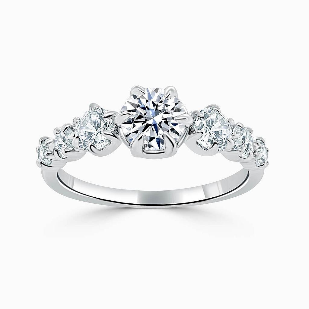 Platinum Round Brilliant 7 Stone Engagement Ring