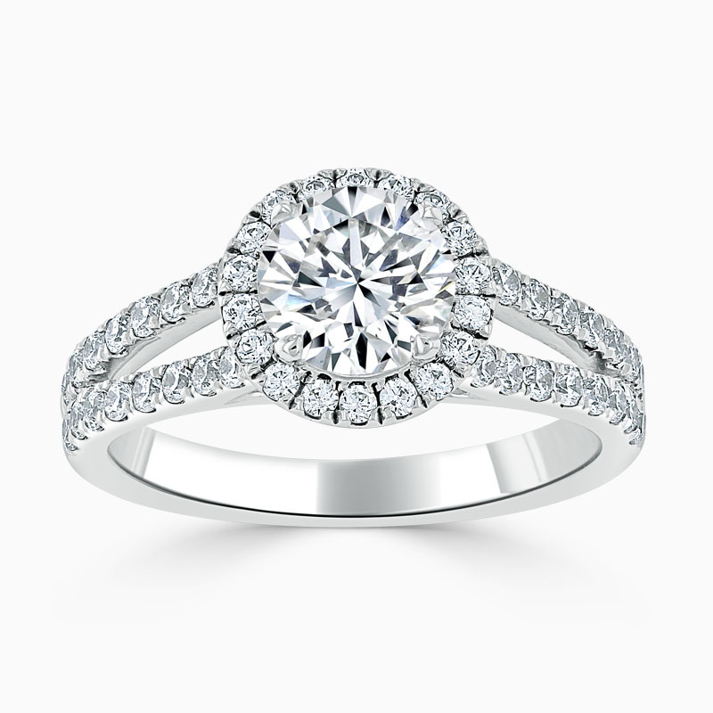 18ct White Gold Round Brilliant Split Shoulder Halo Engagement Ring