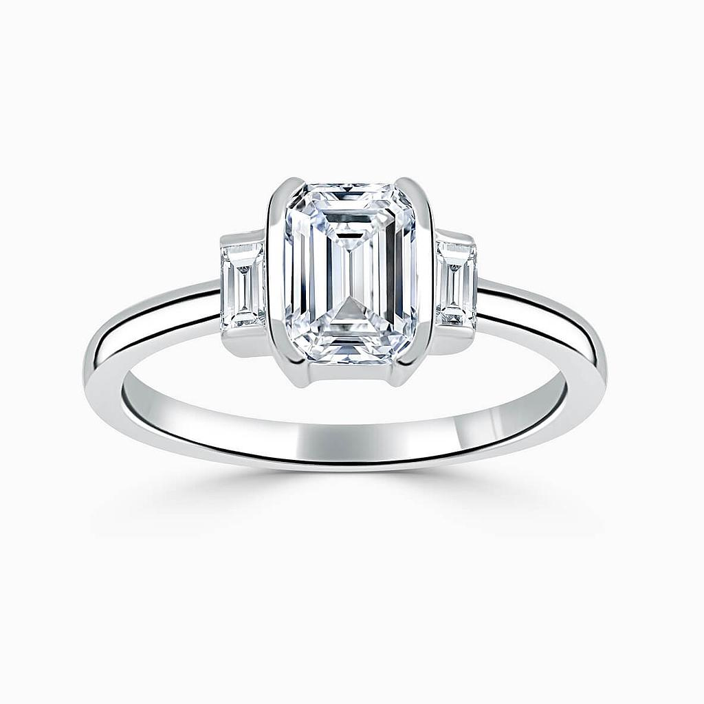 18ct White Gold Emerald Cut Art Deco 3 Stone With Baguettes Engagement Ring