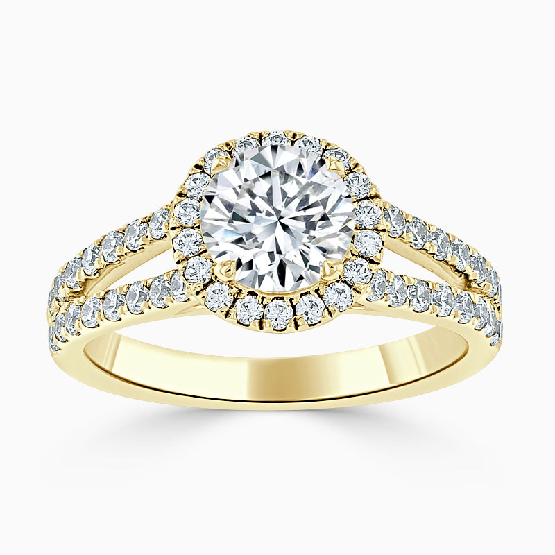 18ct Yellow Gold Round Brilliant Split Shoulder Halo Engagement Ring