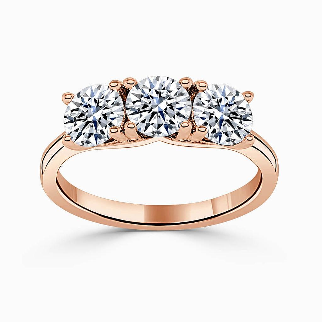 18ct Rose Gold Round Brilliant 3 Stone Crossover Engagement Ring