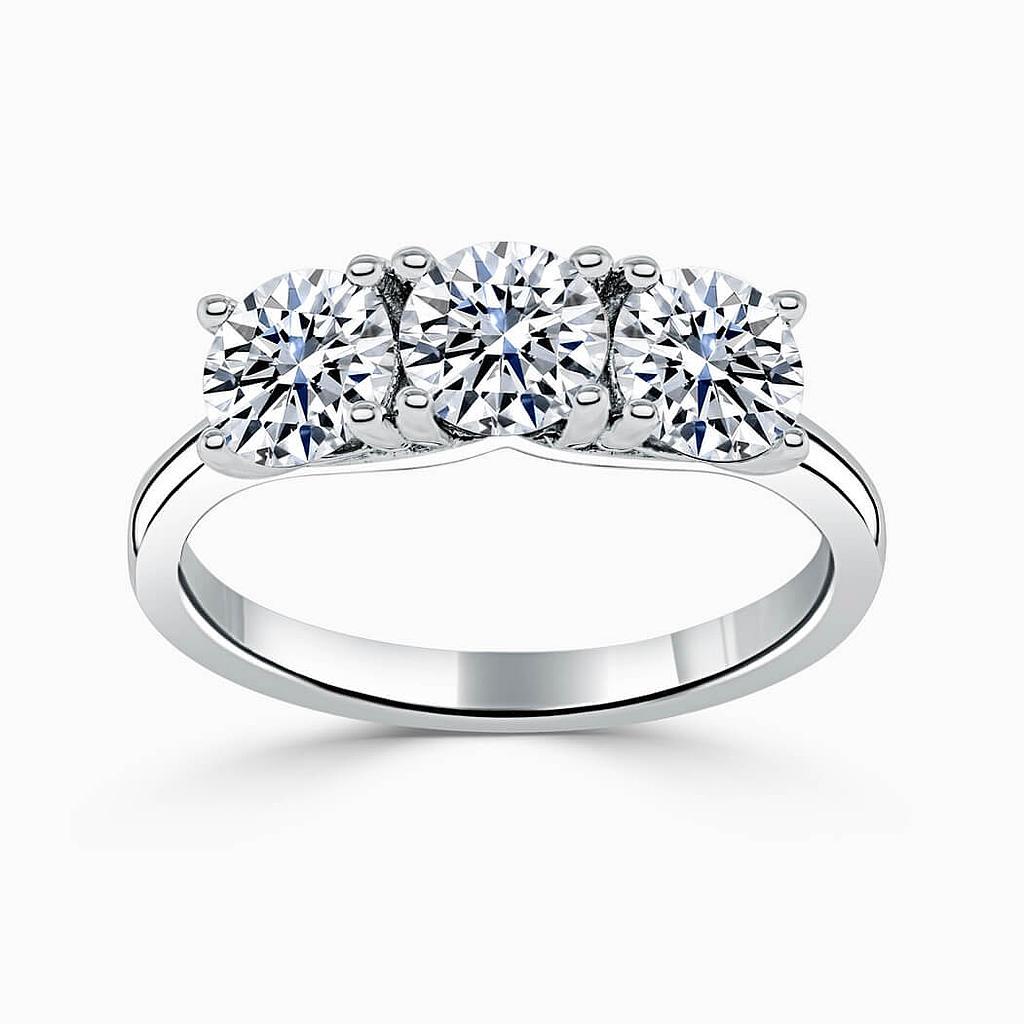 Platinum Round Brilliant 3 Stone Crossover Engagement Ring