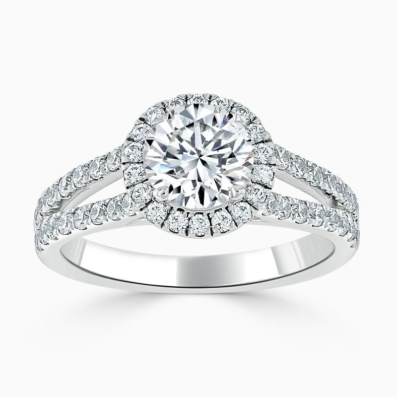 Platinum Round Brilliant Split Shoulder Halo Engagement Ring