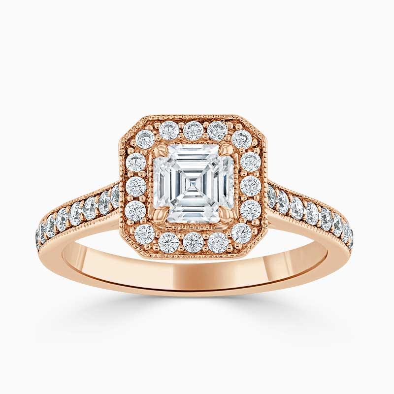 18ct Rose Gold Asscher Cut Vintage Pavé Halo Engagement Ring