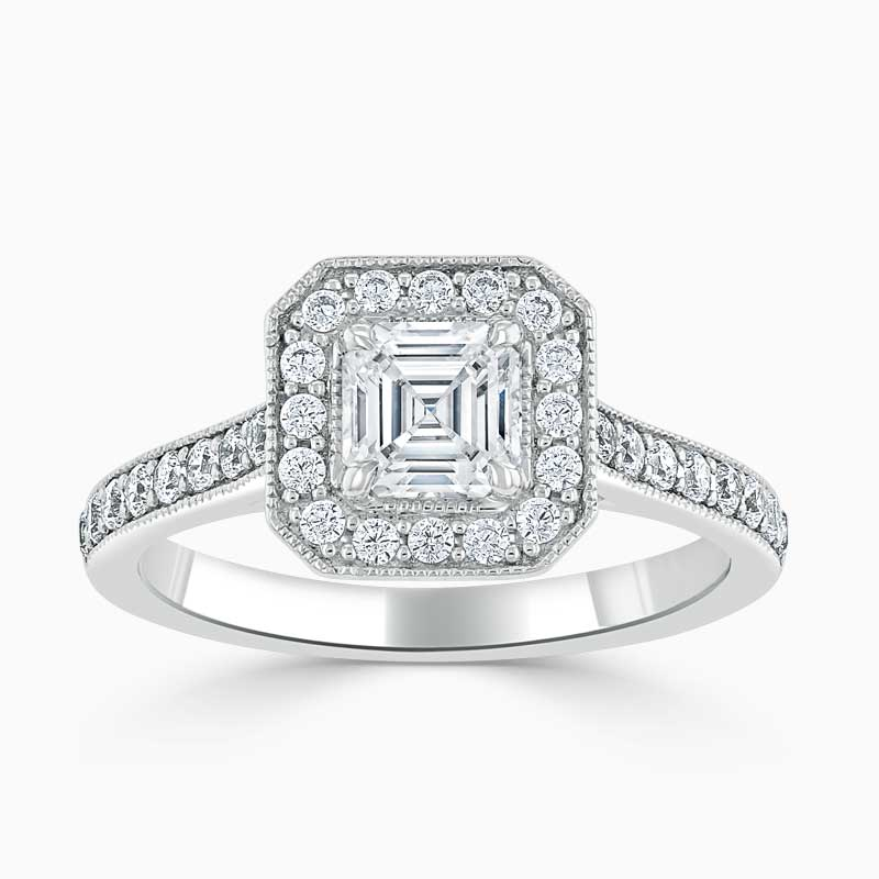18ct White Gold Asscher Cut Vintage Pavé Halo Engagement Ring