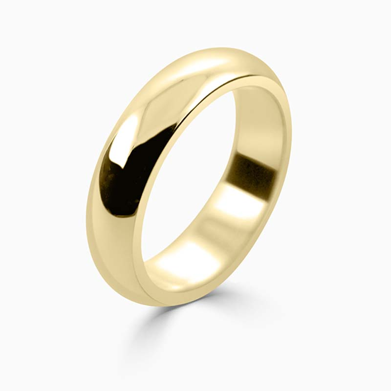 18ct Yellow Gold 5mm D Shape Heavy Weight Wedding Ring
