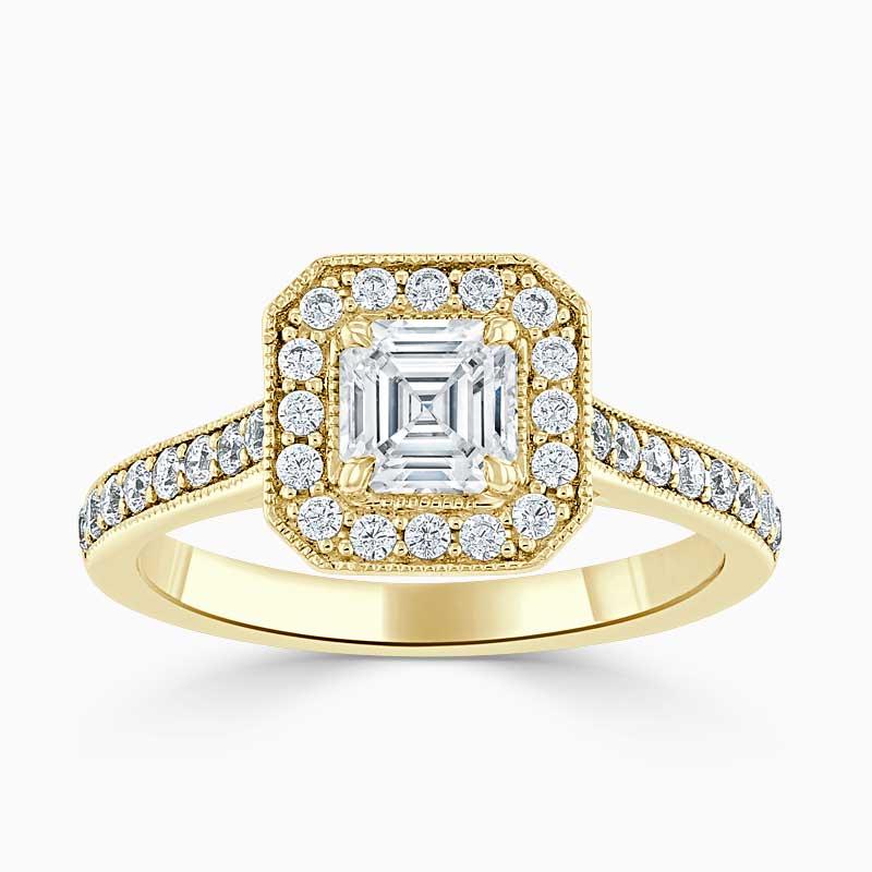 18ct Yellow Gold Asscher Cut Vintage Pavé Halo Engagement Ring