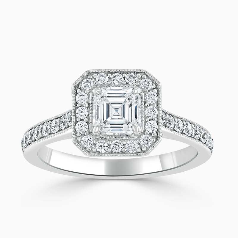 Platinum Asscher Cut Vintage Pavé Halo Engagement Ring